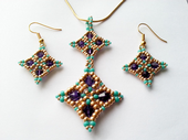 Harlequin Beadwork Necklace & Earrings Jewellery Kit with SWAROVSKI® ELEMENTS Purple Gold and Turquoise